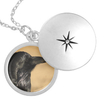 Portrait of a Raven Locket Necklace