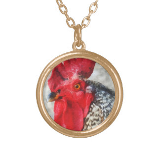 Portrait of a Rooster Round Pendant Necklace