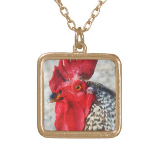 Portrait of a Rooster Square Pendant Necklace