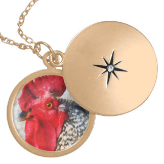 Portrait of a Rooster Round Locket Necklace