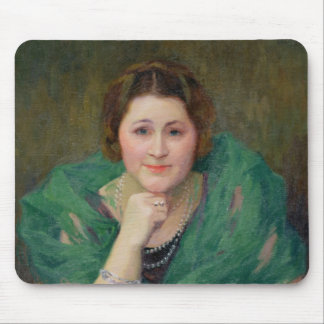 Portrait of a Russian Woman with a Green Scarf Mouse Pad