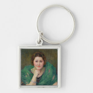 Portrait of a Russian Woman with a Green Scarf Silver-Colored Square Keychain