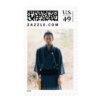 Portrait of a Samurai warrior 4 Stamps