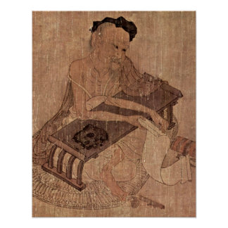 Portrait of a scholar Fu Sheng by Wang Wei Poster