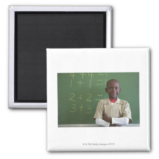 Portrait of a schoolboy at the classroom magnet