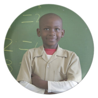 Portrait of a schoolboy at the classroom melamine plate