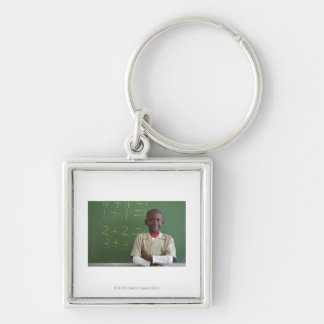 Portrait of a schoolboy at the classroom Silver-Colored square keychain