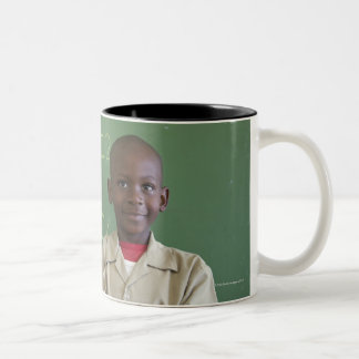 Portrait of a schoolboy at the classroom Two-Tone coffee mug