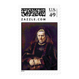 Portrait Of A Seated Old Woman By Rembrandt Postage Stamp