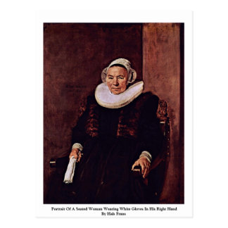 Portrait Of A Seated Woman Wearing White Gloves Post Card