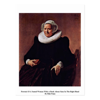 Portrait Of A Seated Woman With A Book Postcard