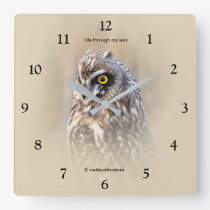 Portrait of a Short-Eared Owl Square Wall Clock