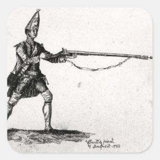 Portrait of a soldier, 1753 square sticker