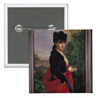 Portrait of a Spanish Woman Button