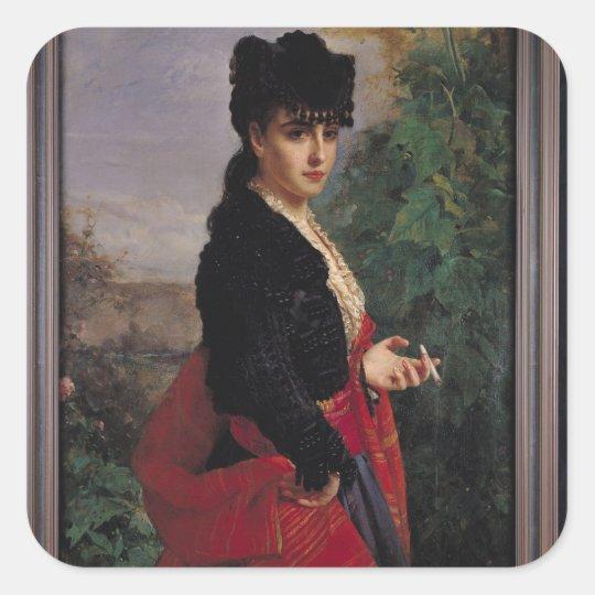 Portrait of a Spanish Woman Square Sticker