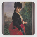 Portrait of a Spanish Woman Square Stickers
