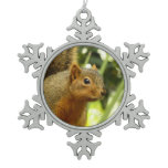 Portrait of a Squirrel Nature Animal Photography Snowflake Pewter Christmas Ornament