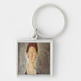 Portrait of a Student, c.1918-19 Silver-Colored Square Keychain