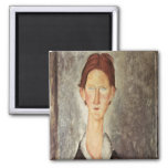 Portrait of a Student, c.1918-19 2 Inch Square Magnet
