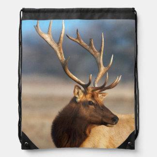 Portrait of a stunning bull elk drawstring backpack