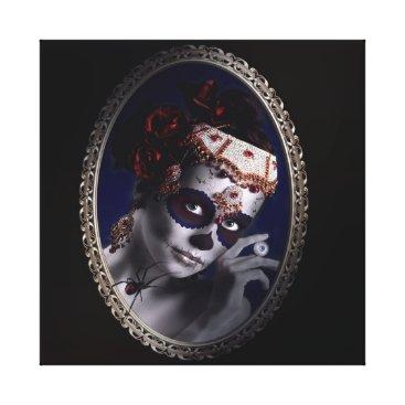 Halloween Themed Portrait of a Sugarskullgirl Canvas Print