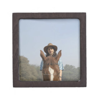 Portrait of a teenage girl riding a horse jewelry box