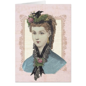 Portrait of a Victorian Beauty Vintage Collage Greeting Card