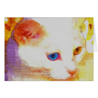 Portrait of a white cat greeting card