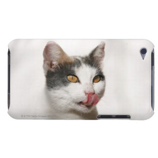 Portrait of a white cat licking Case-Mate iPod touch case