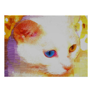 Portrait of a white cat poster