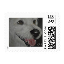Portrait of a White Rescue Dog Postage