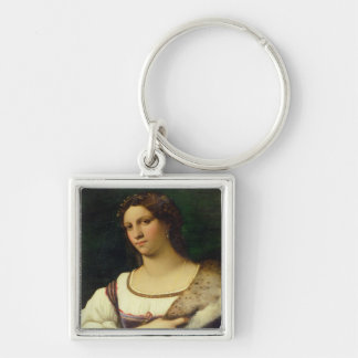 Portrait of a Woman, 1512 (oil on canvas) Silver-Colored Square Keychain