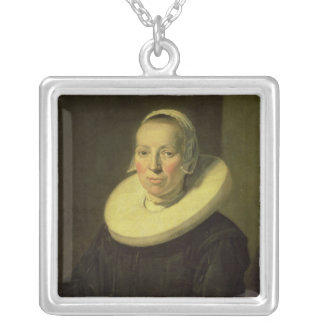 Portrait of a woman, 1644 silver plated necklace