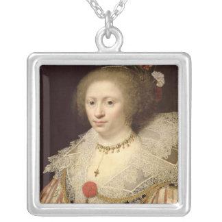 Portrait of a Woman 2 Square Pendant Necklace