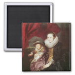 Portrait of a Woman and Child 2 Inch Square Magnet