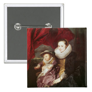 Portrait of a Woman and Child Button