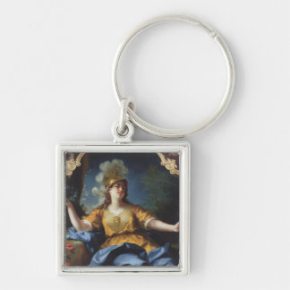 Portrait of a Woman as Minerva, 1730 Silver-Colored Square Keychain