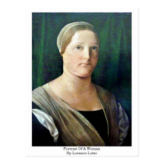 Portrait Of A Woman By Lorenzo Lotto Postcard