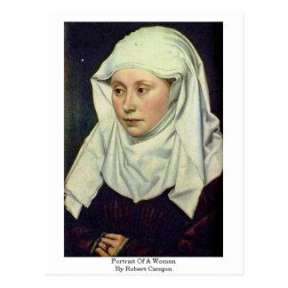 Portrait Of A Woman By Robert Campin Postcard