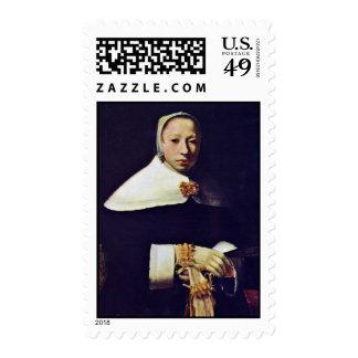 Portrait Of A Woman By Vermeer Van Delft Jan Postage Stamp