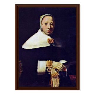 Portrait Of A Woman By Vermeer Van Delft Jan Post Card