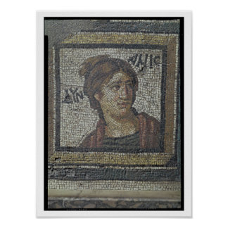 Portrait of a woman, detail of a mosaic pavement d poster