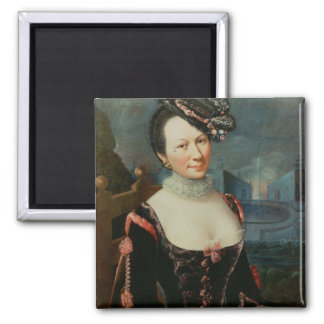 Portrait of a Woman Holding a Musical Score 2 Inch Square Magnet