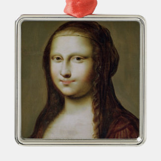 Portrait of a Woman Inspired by the Mona Lisa Metal Ornament