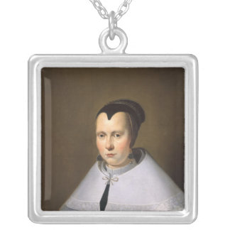 Portrait of a Woman (oil on panel Silver Plated Necklace