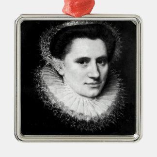 Portrait of a woman square metal christmas ornament