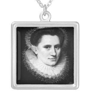 Portrait of a woman square pendant necklace
