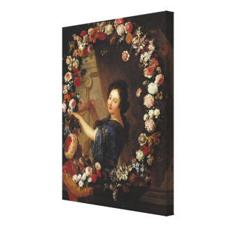 Portrait of a Woman Surrounded by Flowers Canvas Print