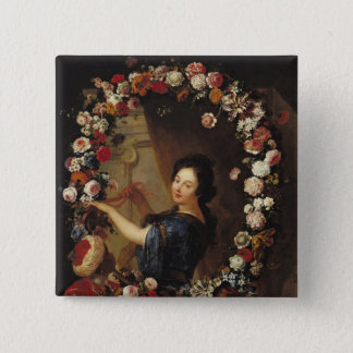 Portrait of a Woman Surrounded by Flowers Pinback Button