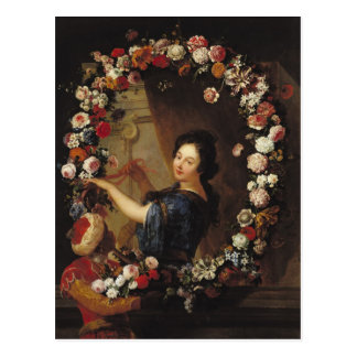 Portrait of a Woman Surrounded by Flowers Postcard